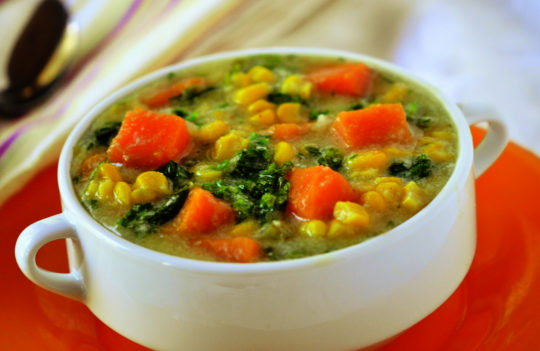 Chunky Corn Chowder with Kale and Sweet Potato