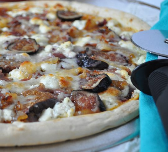 Fig, Caramelized Onion, Prosciutto & Goat Cheese Pizza