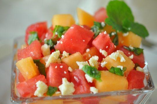 Watermelon and Cantaloupe Salad
