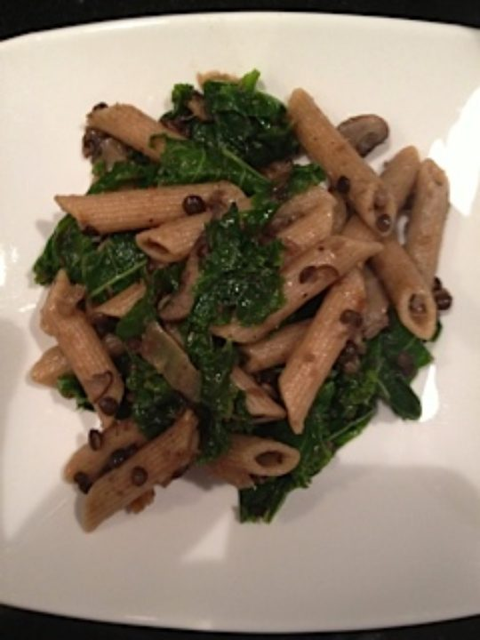 Black Lentils With Kale and Pasta