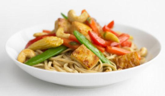 Stir Fry: Vegetables, Tofu and Soba Noodles in Sweet Ginger Sauce