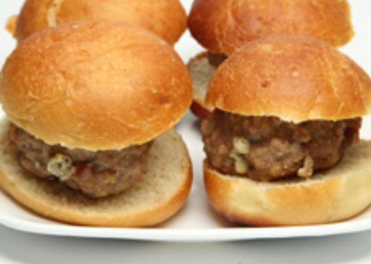 Stuffed Turkey Burgers with Apples, Onions and Peppers
