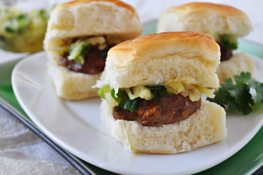 Sliders with Pineapple Salsa