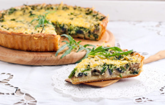 Asparagus, Tomato, and Shitake Mushroom Quiche