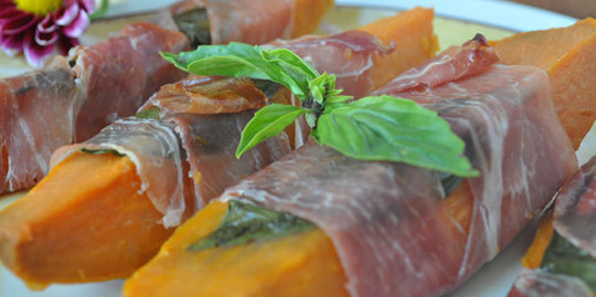 Sweet Potato Wedges Wrapped in Prosciutto