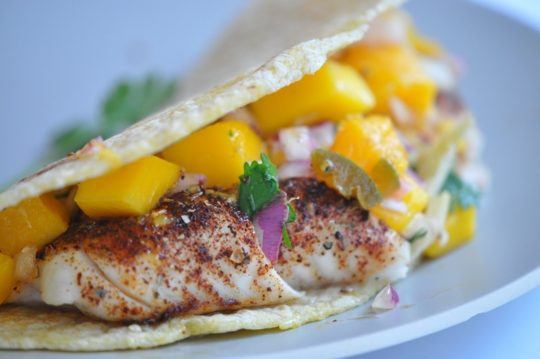Fish Tacos with Mango Pico