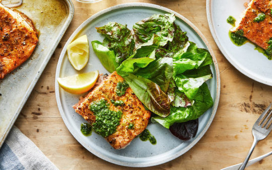Pan Seared Salmon with Basil Dressing